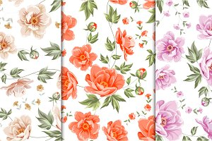 12 Best Vintage Floral Patterns Set