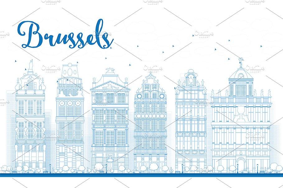 Outline Brussels City Skyline in Illustrations