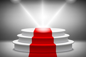 Empty illuminated podium vector red