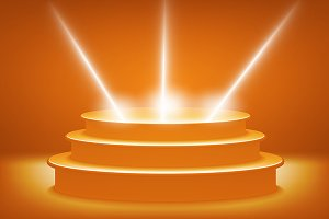 orange Illuminated stage podium vec
