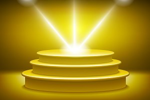 Golden podium vector light stage