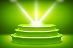 green Illuminated stage podium light