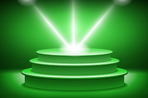 green Illuminated stage podium vecto