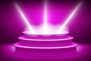 Purple spotlights Podium vector
