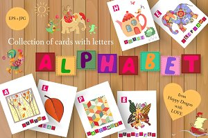Cute cartoon english alphabet