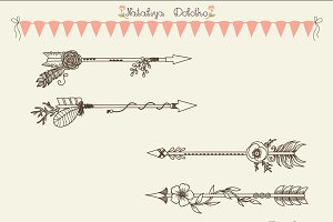 Hand Drawn Vector Arrows. Line Art