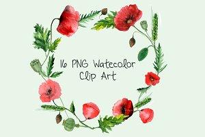 16 Watercolor Poppies Clip Art