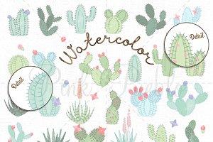 Watercolor Cactus Clipart & Vectors