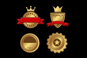 Gold Badges Vintage Award Set