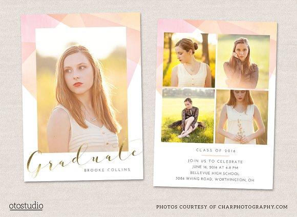 Graduation Announcement Template Card Templates on Creative Market – Graduation Announcement Template