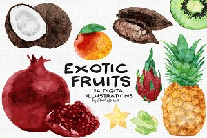 Exotic Fruits - Watercolor Cliparts