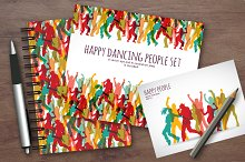 Happy active people vector set
