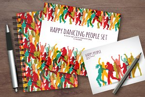 Happy active people vector set