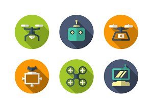 Set flat icons of quadrocopter