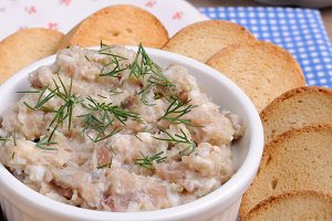 Snack of pate herring