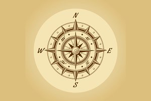 Wind rose in old retro style
