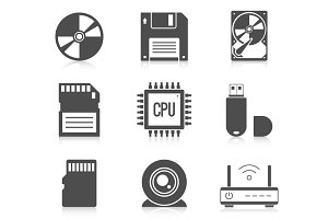 Digital storage data icons