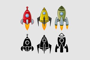 Spaceships set color and black