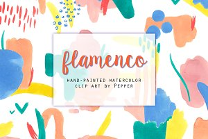 Flamenco Abstract Watercolor Forms