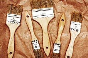 Renovation brushes on craft paper