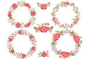 Pink and Green Floral Wreath