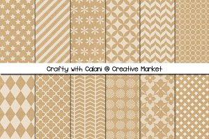 Digital Kraft Paper in 12 Patterns