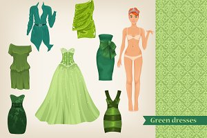 Vector set of green dresses