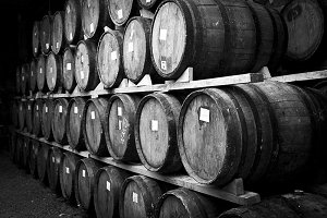 wine barrels staked