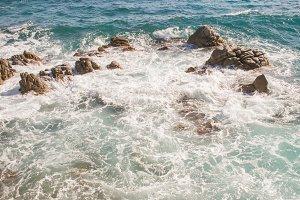Rocks in the swirling water