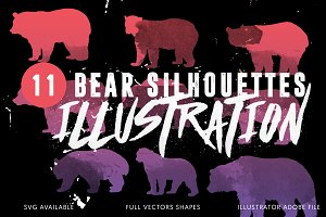 11 Bears Silhouettes Illustrations