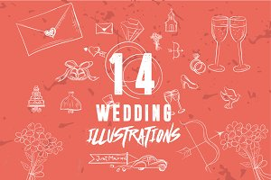 14 Hand-Drawn Wedding Illustration
