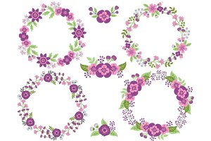 Purple and Pink Floral Wreath