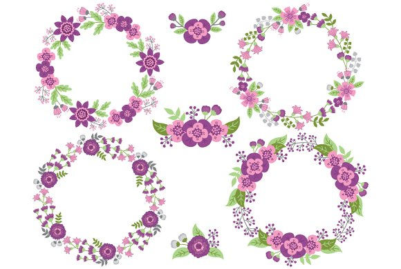 Purple and Pink Floral Wreath ~ Illustrations on Creative Market