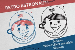 Retro Astronaut Vector Illustration