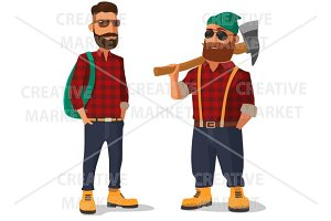 Lumberjack hipster identical clothes