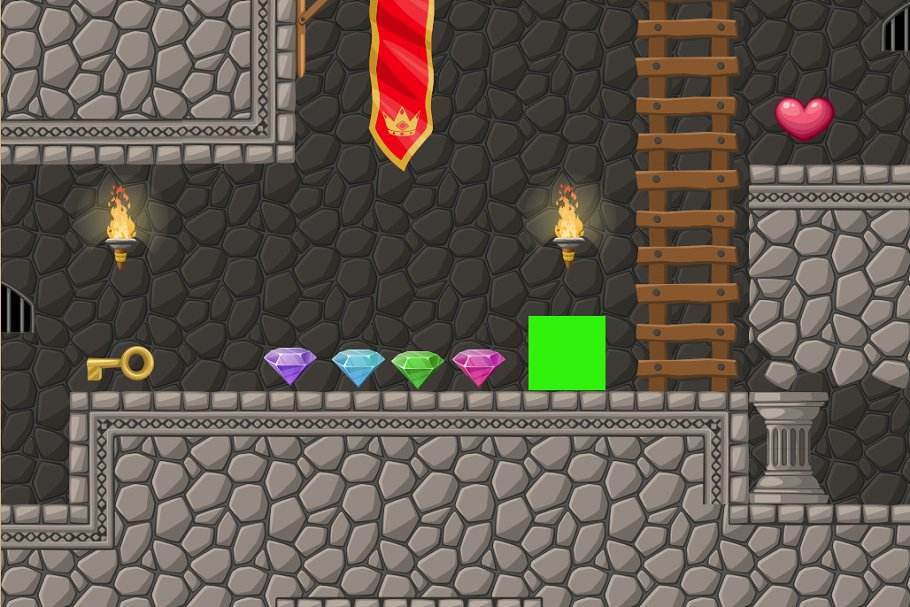 Dungeon platformer set 2d ~ Illustrations ~ Creative Market