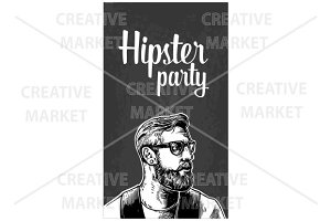 Hipster party greeting card
