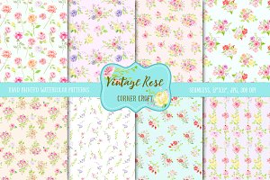 Watercolor Pattern Vintage Rose
