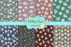 Watercolor Vintage Rose Dark Pattern