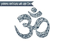 patterns and icons with sign Om