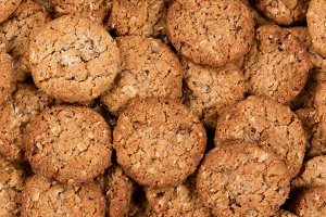 Oatmeal cookies in filled frame