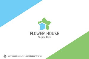 Flower House Logo Template