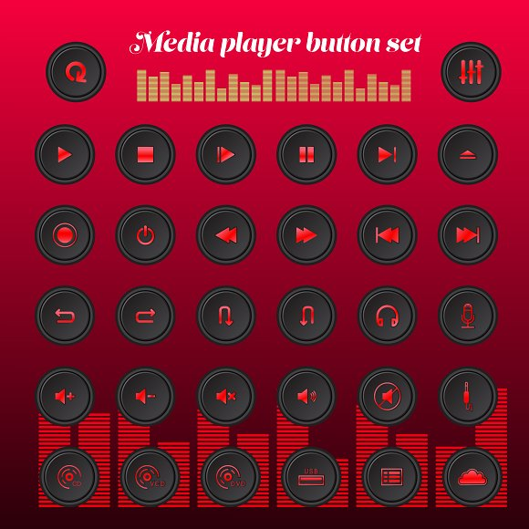 music play button set