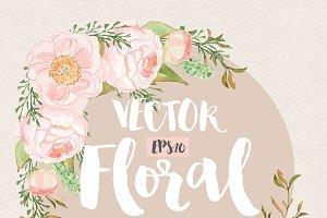 Vector watercolor peony