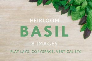 Basil on wooden table