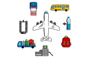 Airport service and aviation icons