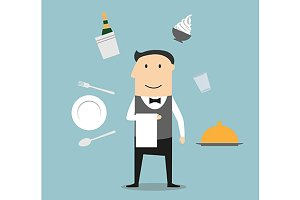 Waiter profession concept