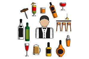 Bartender profession icons