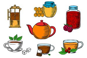 Teacups, dessert and teapots icons