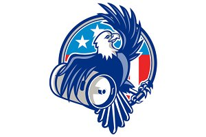 American Bald Eagle Beer Keg Flag